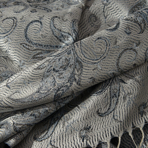 SILK MARK - 100% Superfine Silk Light Grey, Blue and Multi Colour Flower Pattern Jacquard Jamawar Scarf with Tassels (Size 180x70 Cm) (Weight 125 - 140 Gms)