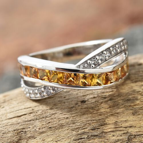 Yellow Sapphire (Sqr), Natural White Cambodian Zircon Ring in Platinum Overlay Sterling Silver 2.000 Ct