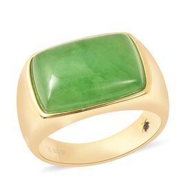 GP - Green Jade and Blue Sapphire Ring in Yellow Gold Overlay Sterling Silver 16.02 Ct, Silver wt 8.