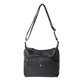 100% Genuine Leather Crossbody Bag with Multiple Pockets and Zipper Closure (Size 30x23x10cm) - Blac
