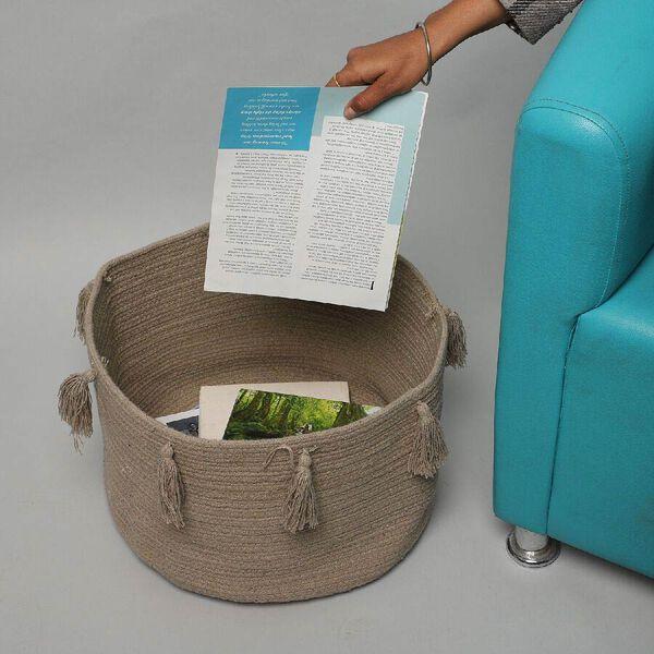 100% Cotton Braided Multipurpose Beige Basket With Tassels (45x45x30cm)