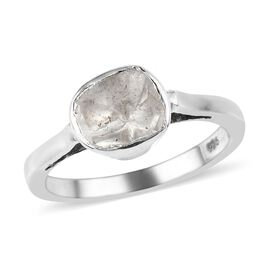 Artisan Crafted Polki Diamond Ring in Platinum Overlay Sterling Silver 0.25 Ct.