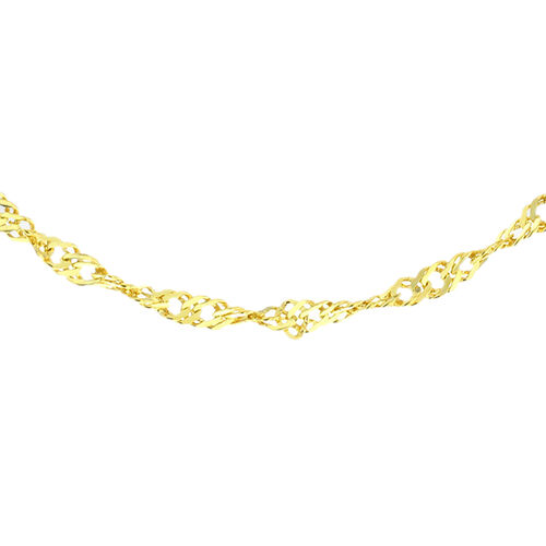 Close Out Deal- Yellow Gold Overlay Sterling Silver Diamond Cut Singapore Chain (Size 30).Silver Wt 3.30 Gms