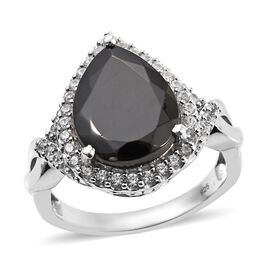 6 Carat Elite Shungite and Zircon Halo Ring in Platinum Plated Silver 6.16 Grams