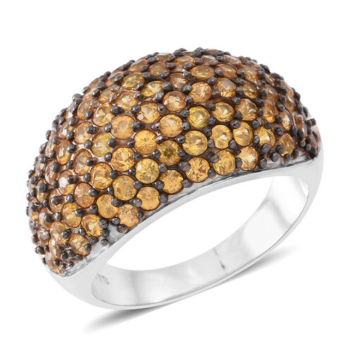4.75 Ct Chanthaburi Yellow Sapphire Cluster Ring in Rhodium Plated Silver 6.80 grams