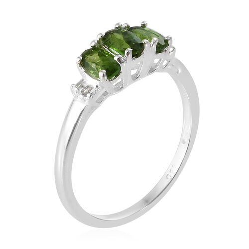 One Time Deal- Russian Diopside (Ovl) and Diamond Ring in Sterling Silver 0.750 Ct.