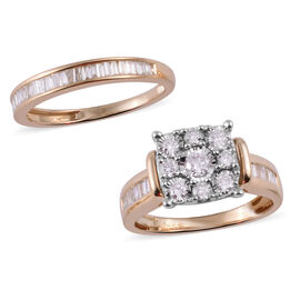 New York Close Out Deal - Set of 2 - 14K Yellow Gold Diamond (Rnd and Bgt) (I2-I3 / G-H) Ring 1.00 Ct.