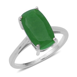 Green Jade (Cush 14x18 mm) Solitaire Ring (Size M) in Sterling Silver 4.540 Ct.