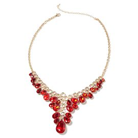 Simulated Ruby Collar Necklace in Yellow Gold Tone 20 with 3 inch Extender