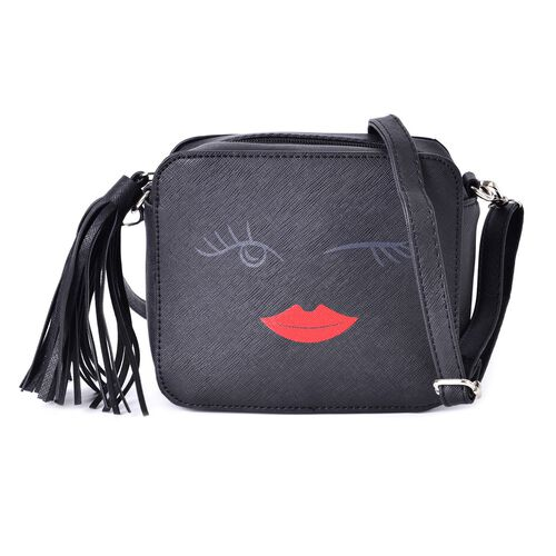 Black Summer Fun Crossbody Bag with External Zipper Pocket and Adjustable and Removable Shoulder Strap and Tassels (Size 17.5x15x7 Cm)