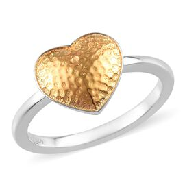 Textured Heart Ring in Platinum and Yellow Gold Plated Sterling Silver