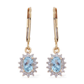 9K Yellow Gold AAA Santa Maria Aquamarine (Ovl), Natural Cambodian Zircon Lever Back Earrings 1.530 Ct.