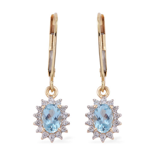 1.53 Ct AAA Aquamarine and Cambodian Zircon Halo Drop Earrings in Rhodium Plated 9K Gold 1 Grams Wit