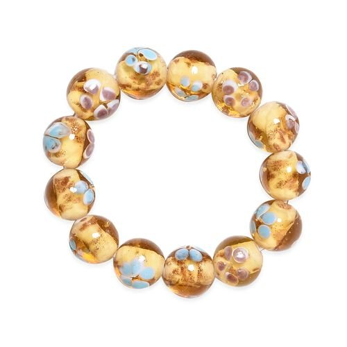 Millefiori Collection- Champagne Colour Murano Style Glass Stretchable Beads Bracelet (Size 7)