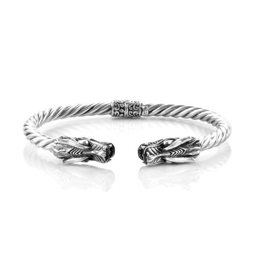 Royal Bali Collection Oxidised Sterling Silver Dragon Head Cuff Bangle (Size 7.25), Silver wt 27.25