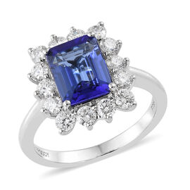 RHAPSODY 950 Platinum AAAA Tanzanite (Oct 2.50 Ct), Diamond (VS/E-F) Ring  3.335 Ct, Platinum wt 6.17 Gms