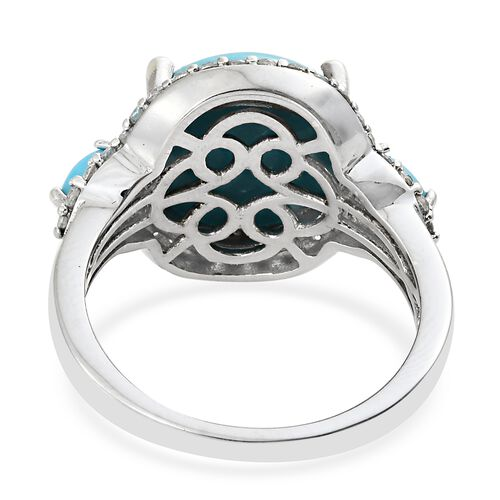 AA Arizona Sleeping Beauty Turquoise (Rnd 7.00 Ct), Natural Cambodian Zircon Ring in Platinum Overlay Sterling Silver 8.250 Ct. Silver wt 5.30 Gms.
