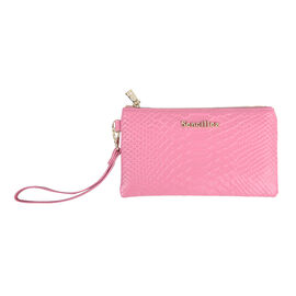 Sencillez 100% Gneuine Leather RFID Snake-Skin Embossed Clutch Wallet in Pink