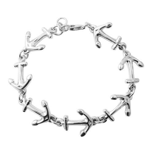 Designer Inspired-Sterling Silver Anchor Bracelet (Size 7.5), Silver wt 12.68 Gms