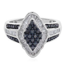 Blue Diamond (Rnd), White Diamond Ring in Black Rhodium and Platinum Overlay Sterling Silver 1.000 C