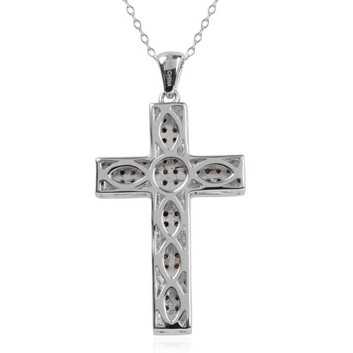 Very Rare Red Diamond (Rnd) Cross Pendant with Chain in Rhodium Plated Sterling Silver 0.250 Ct.