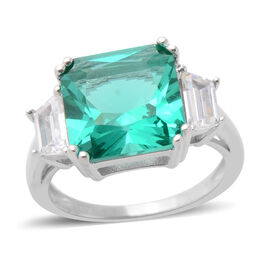 ELANZA Simulated Emerald and Simulated Diamond Trilogy Design Ring in Rhodium Plated Sterling Silver