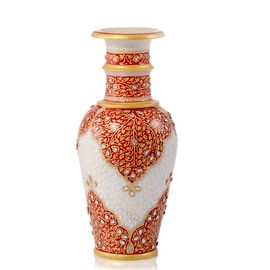 Home Decor - Hand Crafted Crystal Studded and Red Enamelled Marble Vase (Size 6)