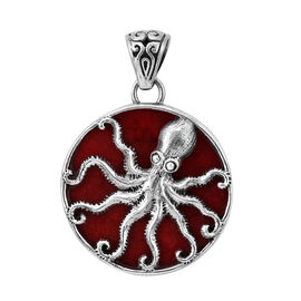 Royal Bali Collection - Sponge Coral (Rnd) Octopus Disc Pendant in Sterling Silver, Silver wt 5.50 G