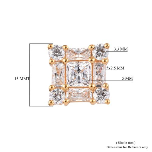 J Francis - 14K Gold Overlay Sterling Silver (Princess) Stud Earrings (with Push Back) Made with SWAROVSKI ZIRCONIA 7.63 Ct.