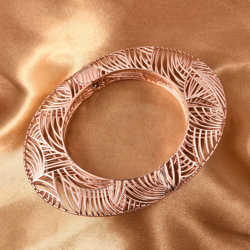 Isabella Liu Sea Rhyme Collection - White Austrian Crystal Bangle (Size 7) in Rose Gold Overlay Sterling Silver, Silver wt 59.90 Gms