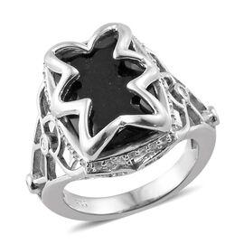 Black Tourmaline (Cush 6.65 Ct), Natural Cambodian Zircon Ring in Platinum Overlay Sterling Silver 7