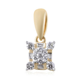 ILIANA 18K Yellow Gold IGI Certified Diamond (Rnd and Bgt) (SI/G-H) Pendant 0.25 Ct.