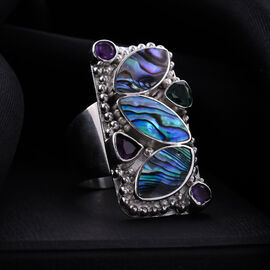 Sajen Silver BALI GODDESS COLLECTION - Abalone Shell, Green Quartz and Amethyst Ring in Sterling Silver 1.86 Ct, Silver wt 15.4 Gms