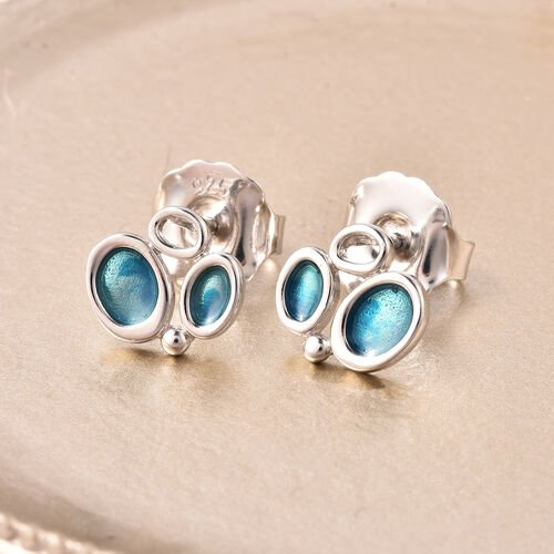 Isabella Liu Arctic Collection - Rhodium Overlay Sterling Silver Enamelled Earrings (with Push Back)
