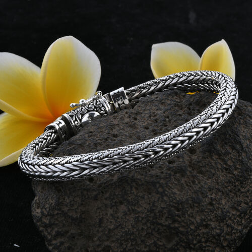Royal Bali Collection Oxidised Sterling Silver Tulang Naga Bracelet (Size 7.5), Silver wt 44.40 Gms.