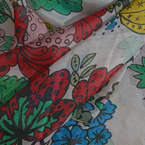 100% Mulberry Silk Red, White and Multi Colour Handscreen Floral and Leaves Printed Scarf (Size 200X180 Cm)