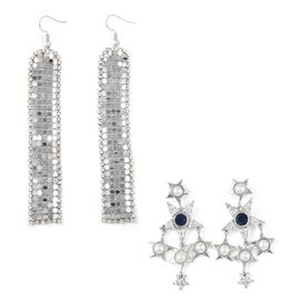 Set of 2 - Simulated Pearl (Rnd), White and Blue Austrian Crystal Earrings in Silver Tone