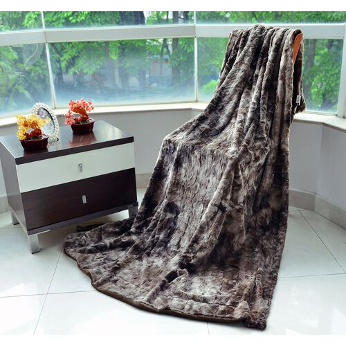 Brown Bear Faux Fur Blanket Off-White Colour with Supersoft Flannel Backing (Size 200X150 Cm)