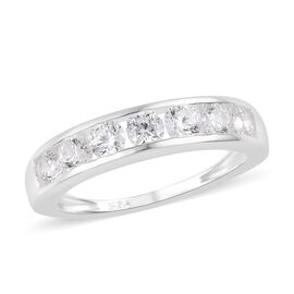 J Francis - Sterling Silver (Rnd) Half Eternity Band Ring Made with SWAROVSKI ZIRCONIA 1.71 Ct.