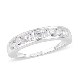 Swarovski Zirconia Half Eternity Band Ring in Sterling Silver