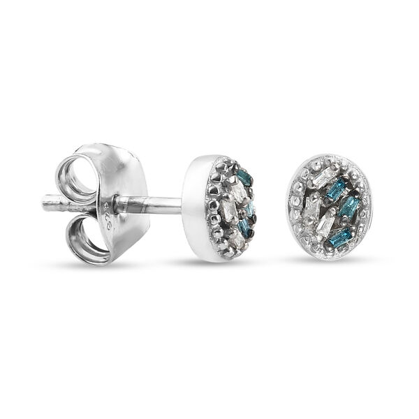 Blue and White Diamond (Bgt) Earrings (with Push Back) in Platinum Overlay Sterling Silver 0.06 Ct.