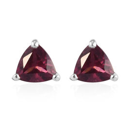 Rose Garnet Stud Earrings (with Push Back) in Platinum Overlay Sterling Silver 1.25 Ct.