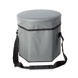 Foldable Multi-Function Cooler Stool - Grey (Size 30x30x30Cm)