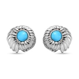 Arizona Sleeping Beauty Turquoise Earrings (with Push Back) in Platinum Overlay Sterling Silver 1.00