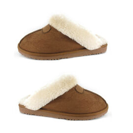 Ella Jill Supersoft Faux Fur Mule Slipper in Chestnut