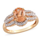 AA Imperial Garnet and Natural Cambodian Zircon Ring (Size P) in 14K Gold Overlay Sterling Silver 2.00 Ct.