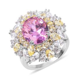 Lustro Stella Simulated Pink Sapphire Cocktail Ring in Rhodium Plated Silver