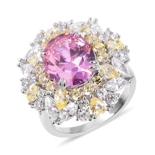 Lustro Stella Simulated Pink Sapphire and Multi Gemstone Cocktail Ring in Rhodium Plated Silver