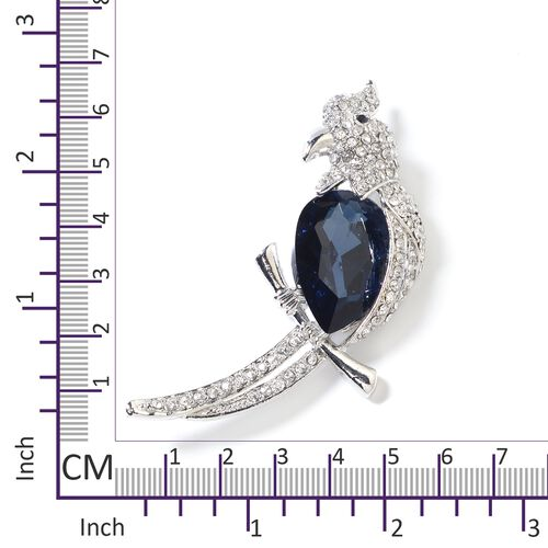 Simulated Blue Sapphire (Pear), White and Black Austrian Crystal Parrot Brooch
