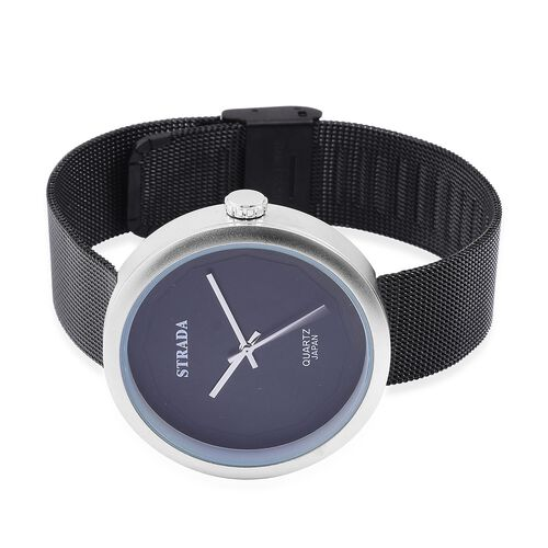 Designer Inspired - STRADA Japanese Movement Black Dial Water Resistant Watch in Silver Tone with Stainless Steel Back and Black Colour Mesh Strap